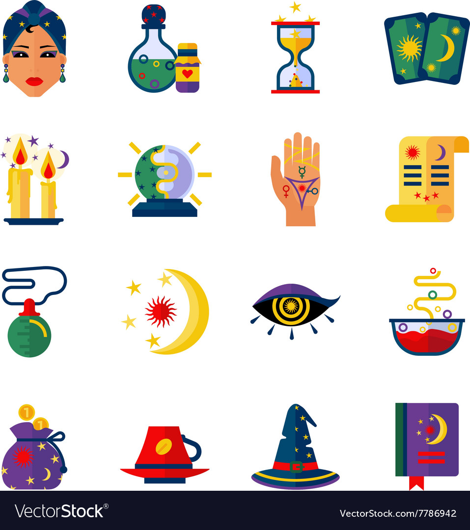 Fortune Teller Attributes Flat Icons Set vector image