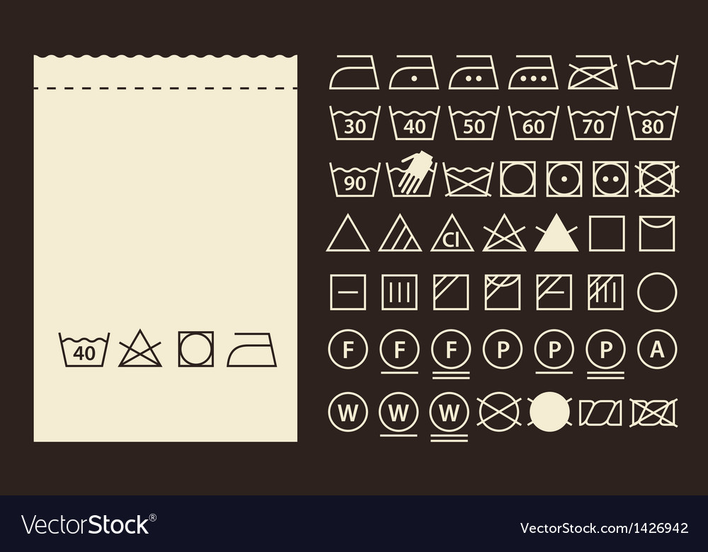 Textile label and washing symbols vector image