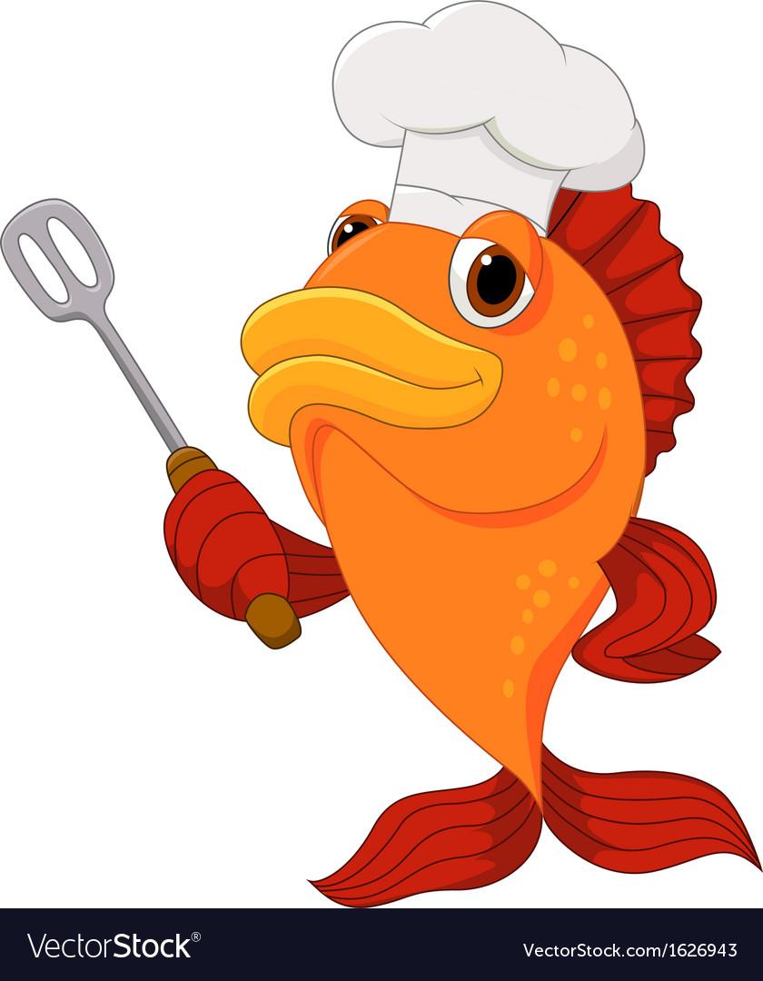 cute fish chef cartoon holding spatula royalty free vector