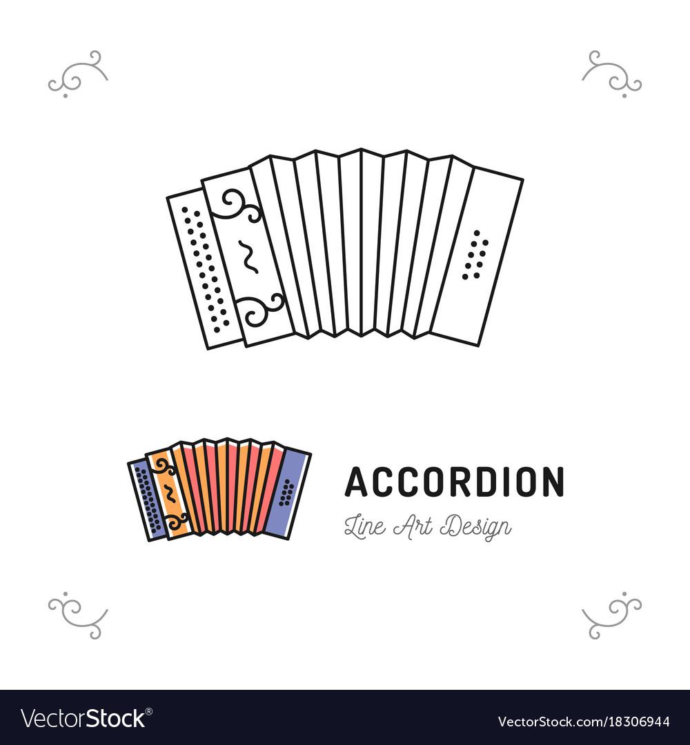 Accordion icon thin line art symbols accordions vector image