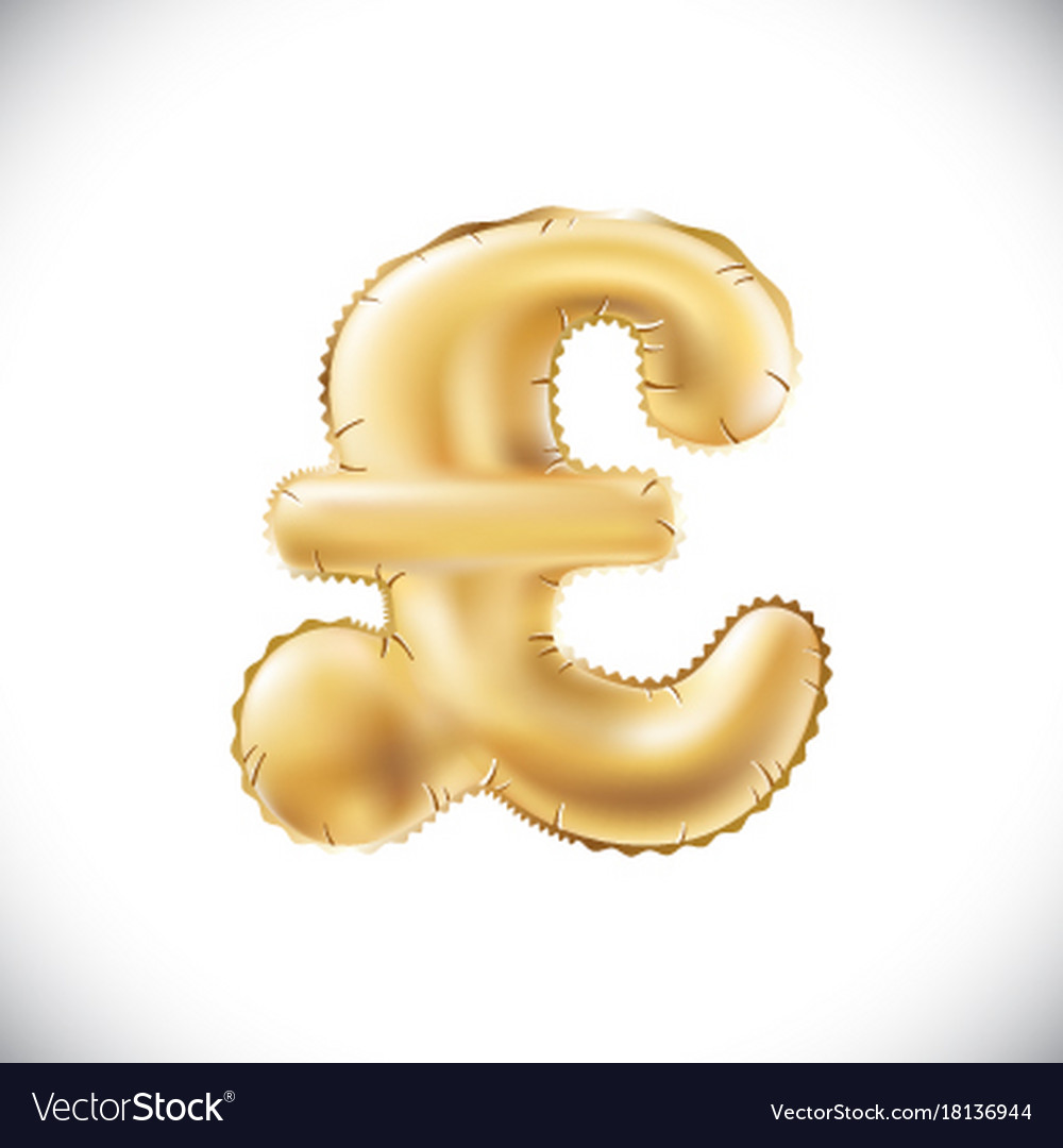 Gold alphabet balloons pound sterling sign gold vector image biocorpaavc Gallery