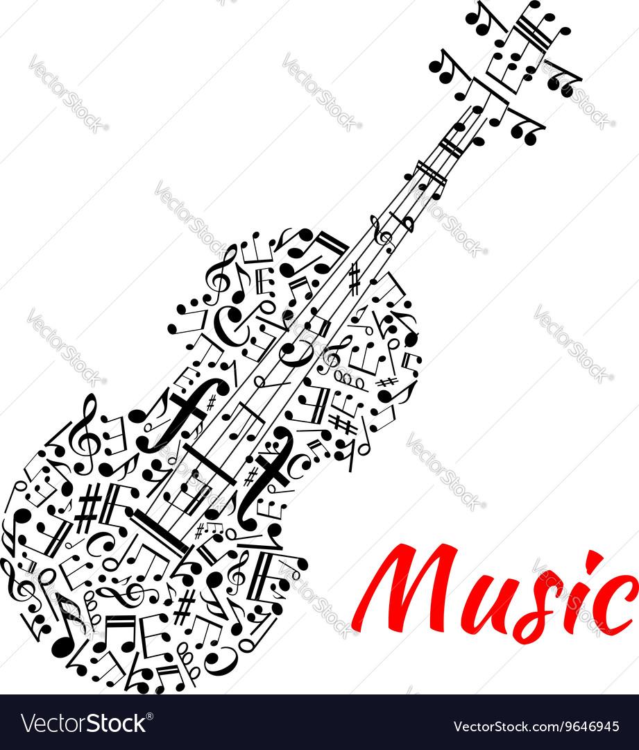 Musical notes and symbols shaped like a violin vector image musical notes and symbols shaped like a violin vector image biocorpaavc