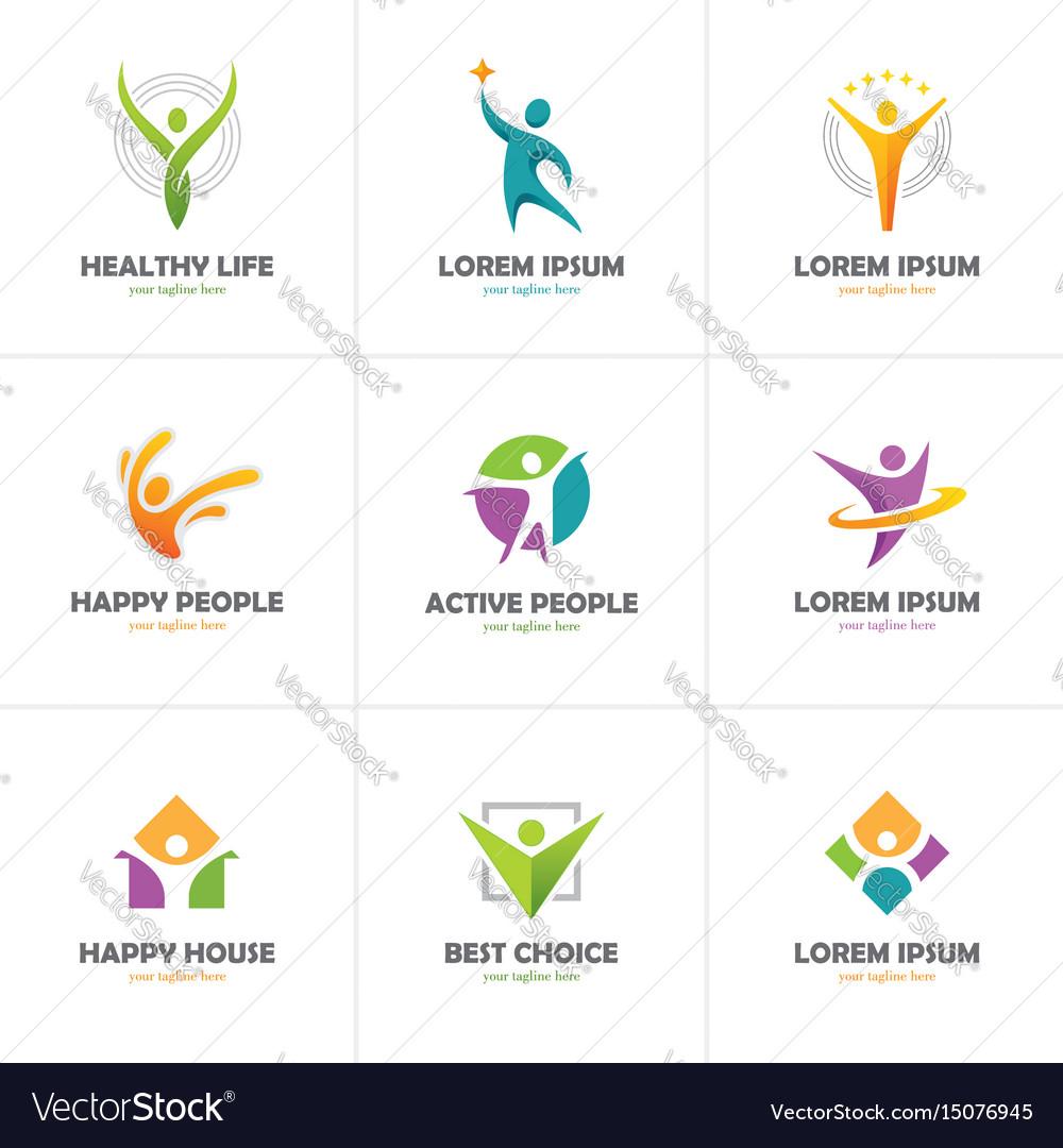 Set of abstract colorful human logo vector image