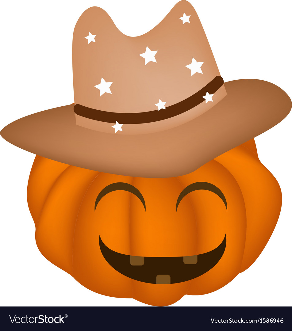 A Happy Halloween Pumpkin In Cowboy Hat Vector Image