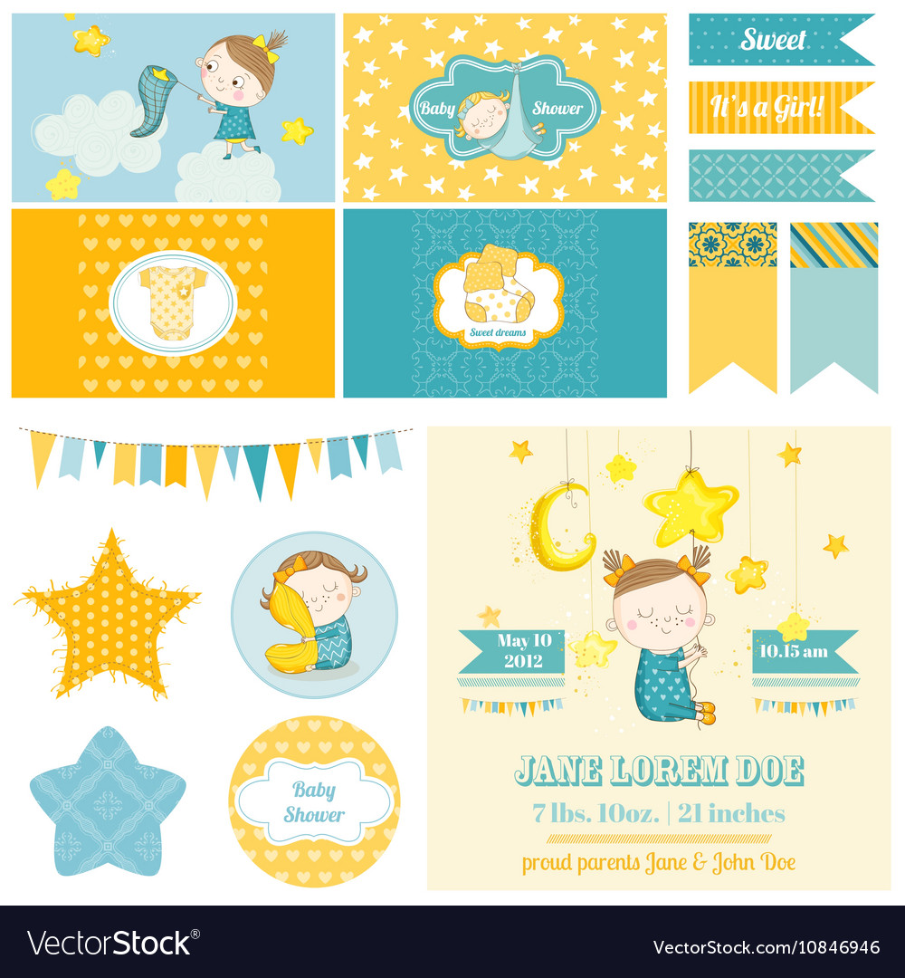 Baby Shower Sleeping Girl Theme - for Party vector image