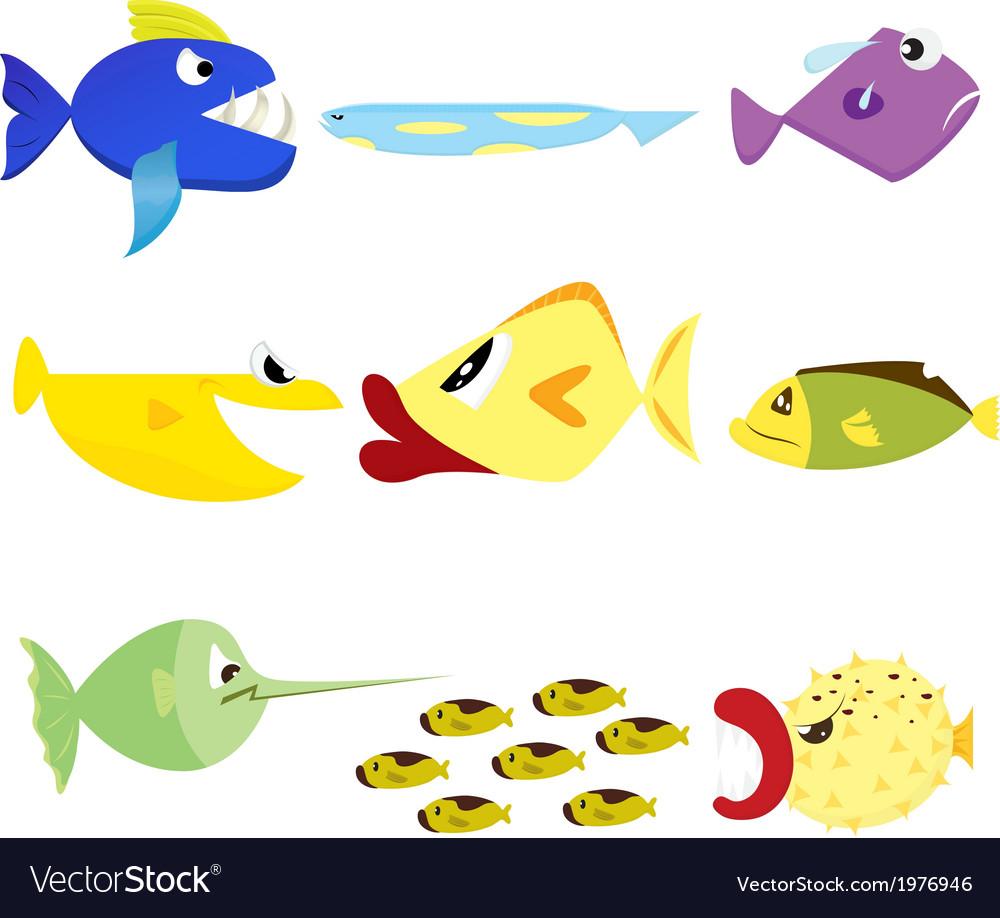 Fish set 1 vector image