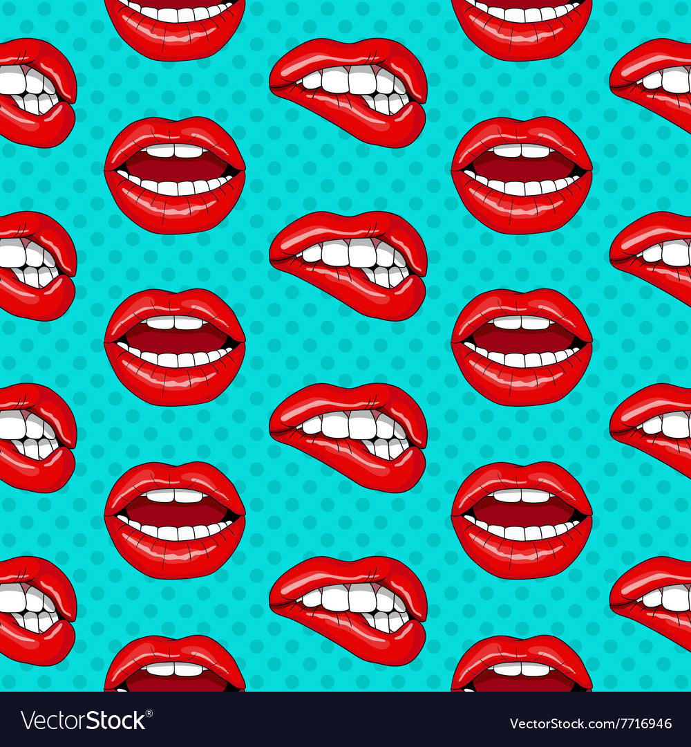 Lips seamless pattern in retro pop art style vector image for Retro images