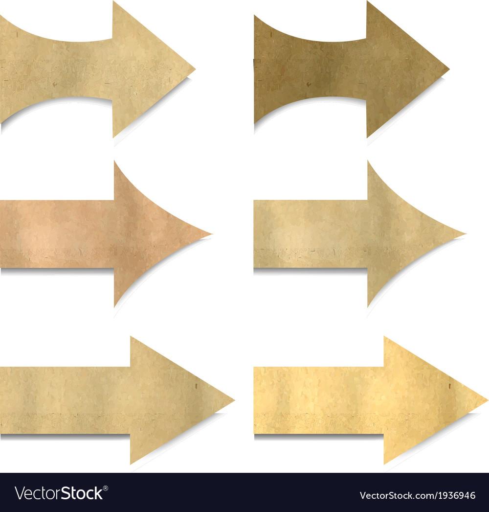 Old Paper Arrows Set vector image