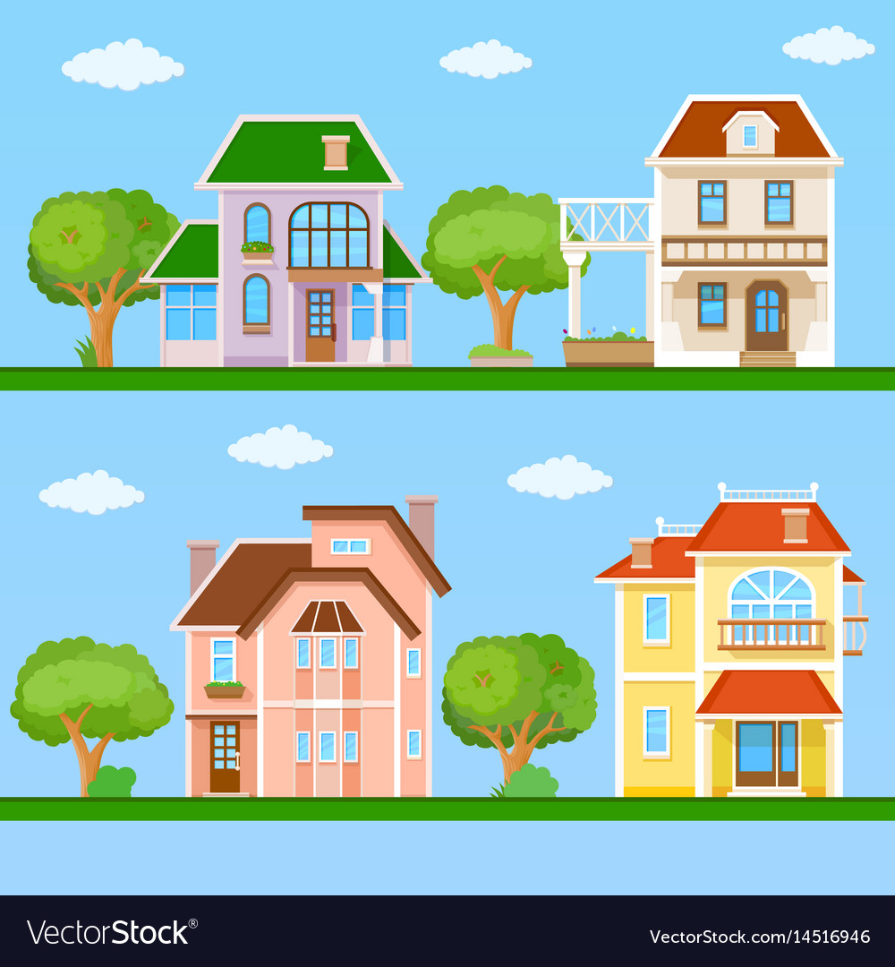 Set of house flat icons vector image