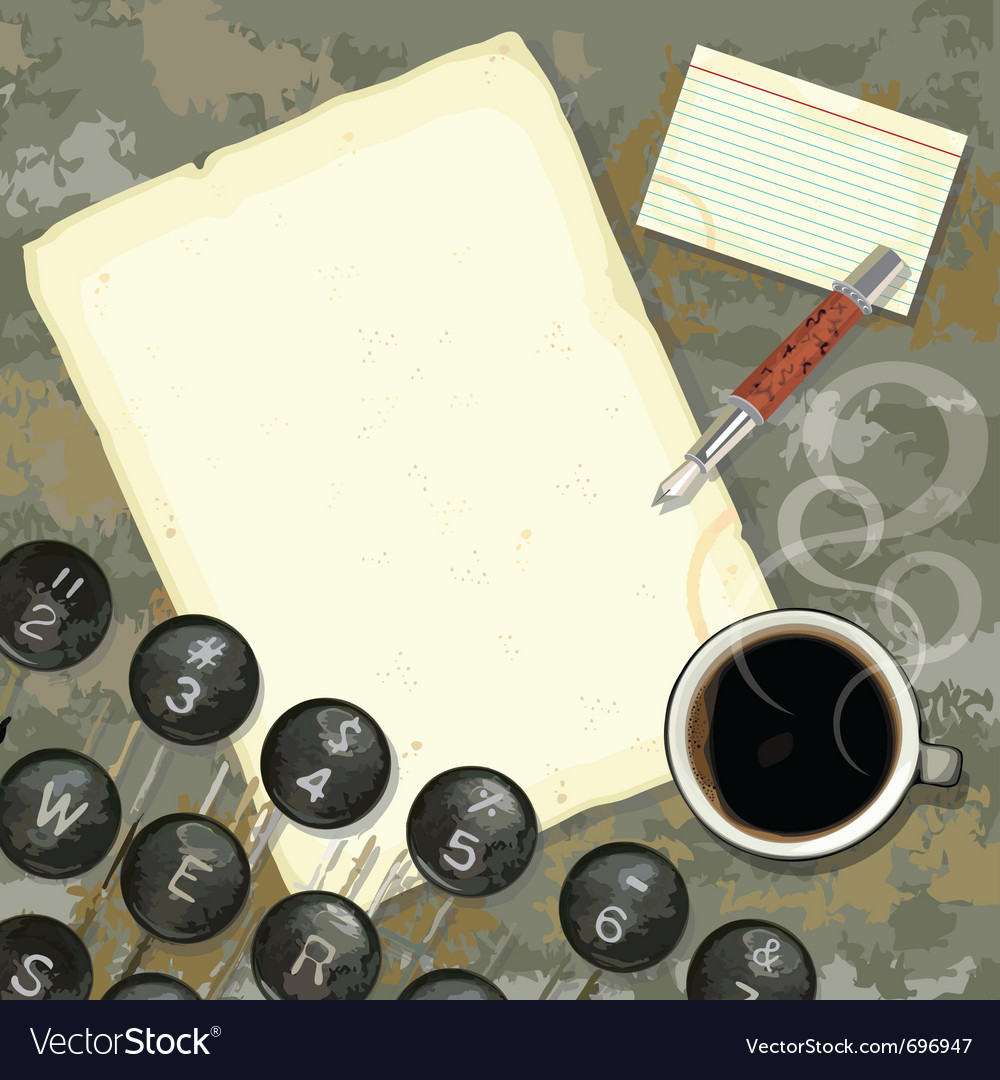 Writers desk with typewriter vector image