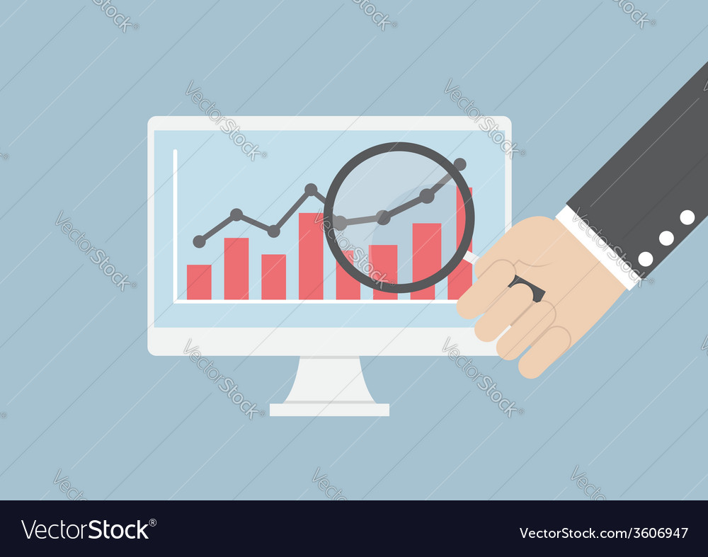 Businessman hand holding magnifying glass focusing vector image