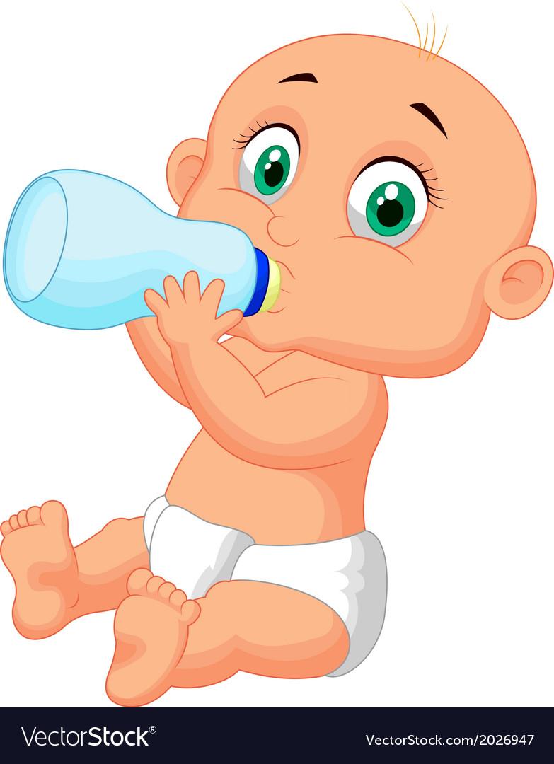 Cute baby cartoon drinking milk from bottle vector image