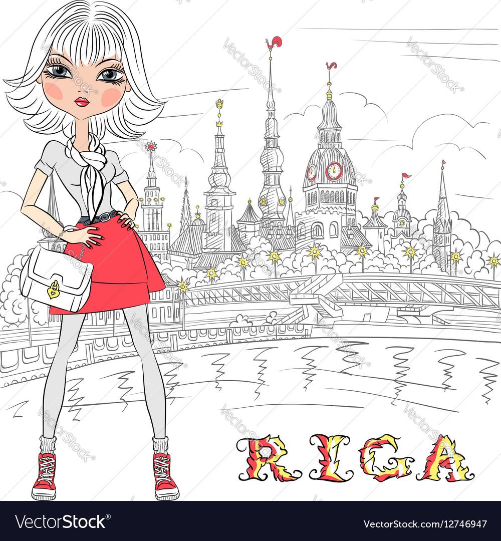 Cute girl in Riga Latvia vector image