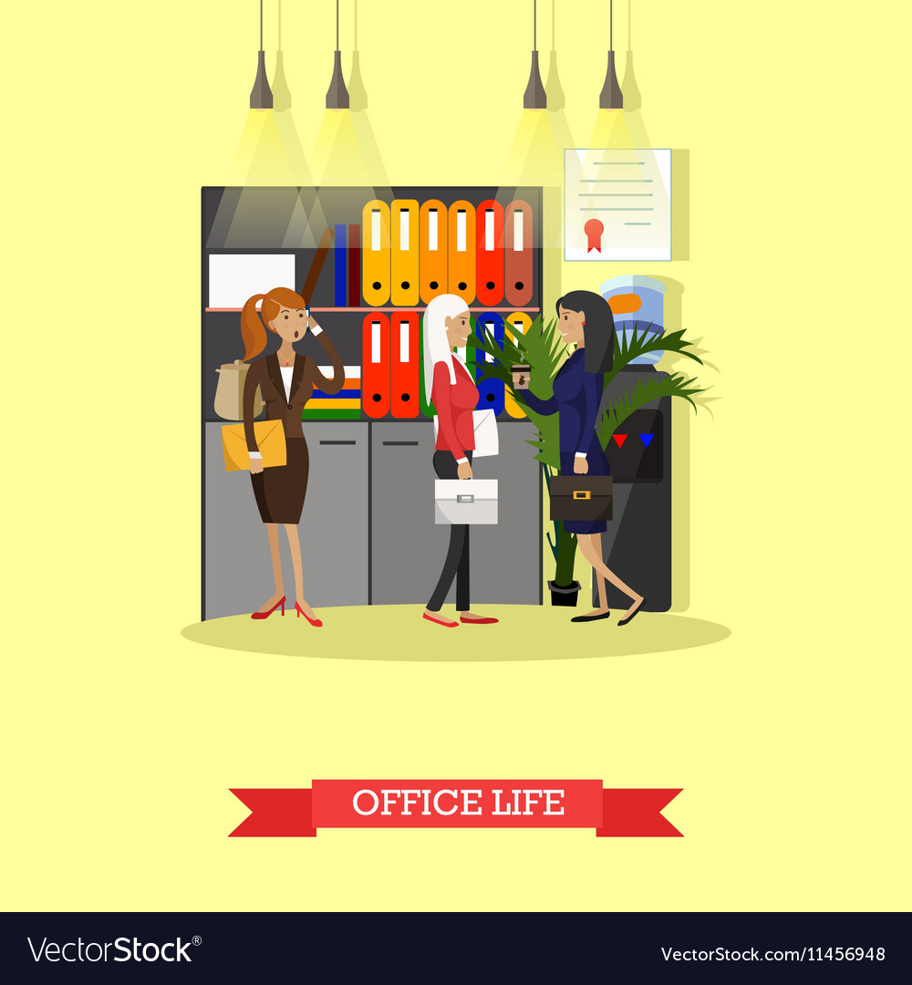 Office life concept flat style vector image