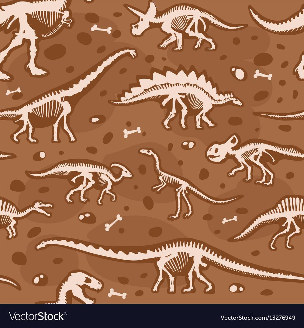 Jurassic dinosaur bones seamless pattern vector image