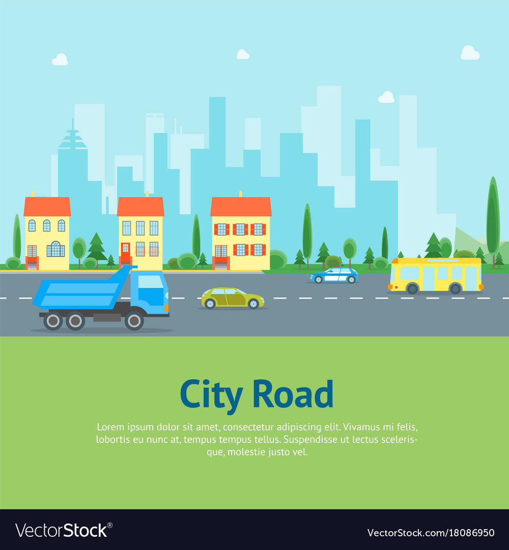 Cartoon urban landscape with road and transport vector image