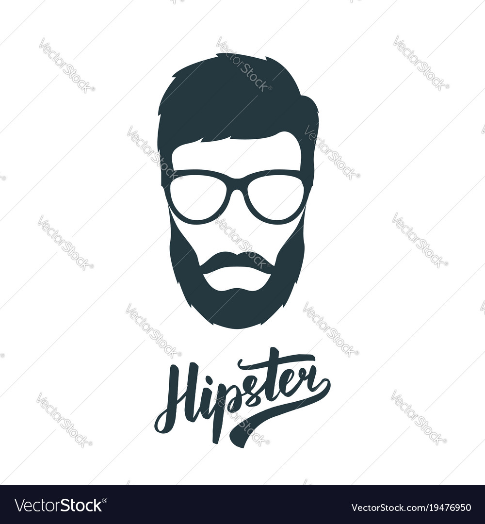 Hipster face with retro glasses hipster avatar vector image