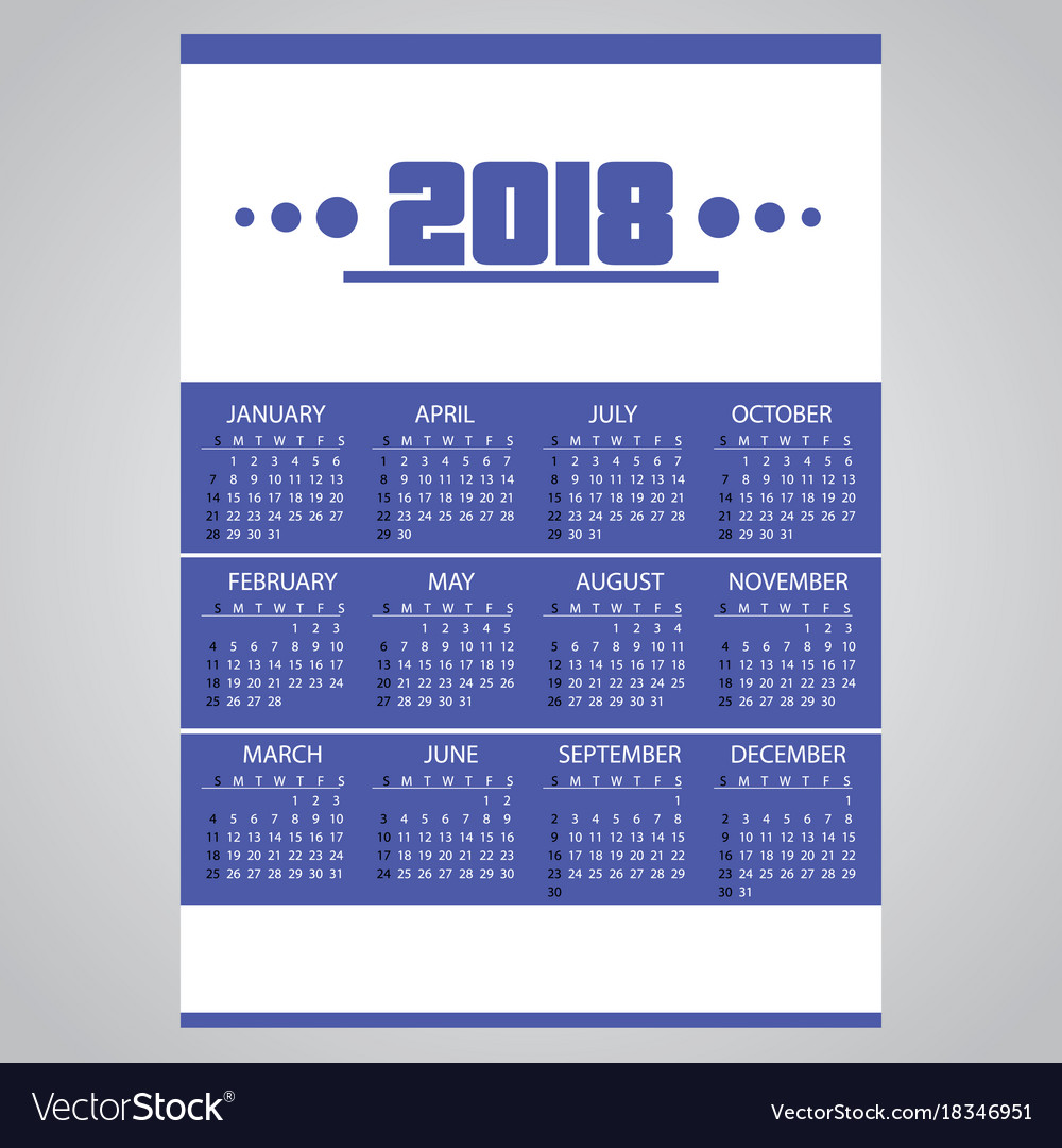 2018 simple business blue wall calendar with vector image