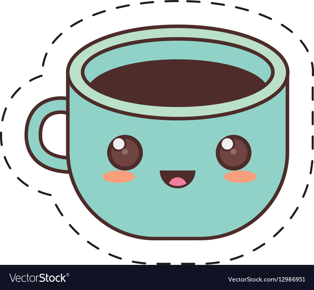 Kawaii blue cup coffee fresh dot line Royalty Free Vector