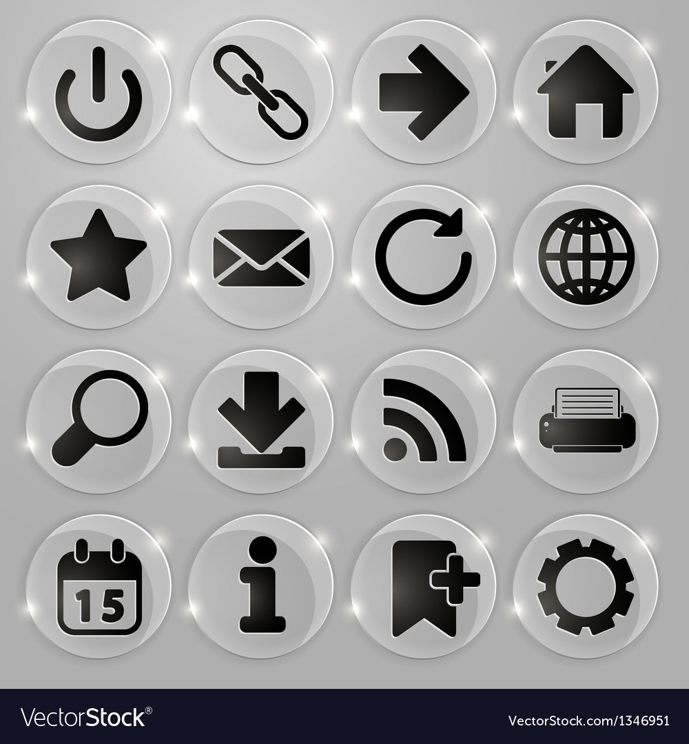 Web icons on glass buttons vector image