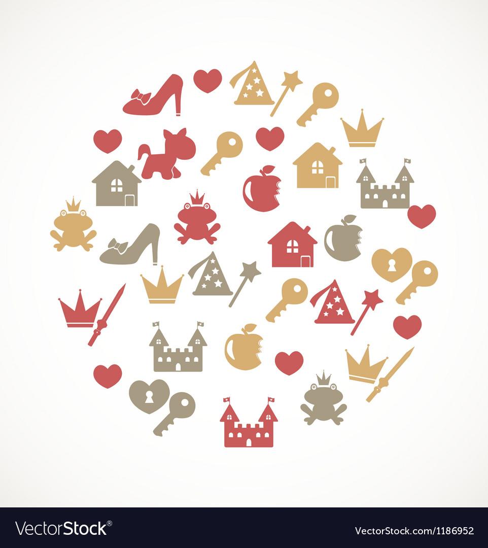 Princess icons vector image