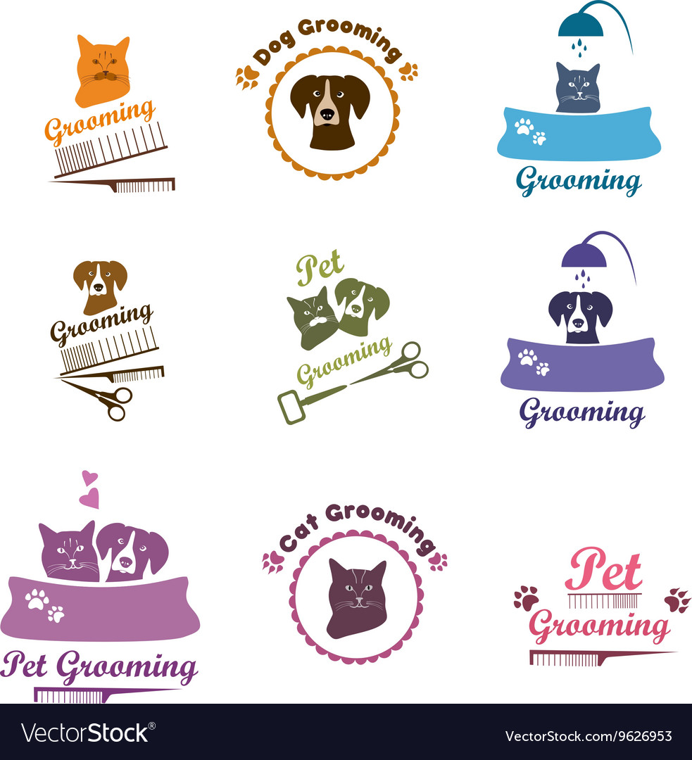 Pet grooming logo set Royalty Free Vector Image