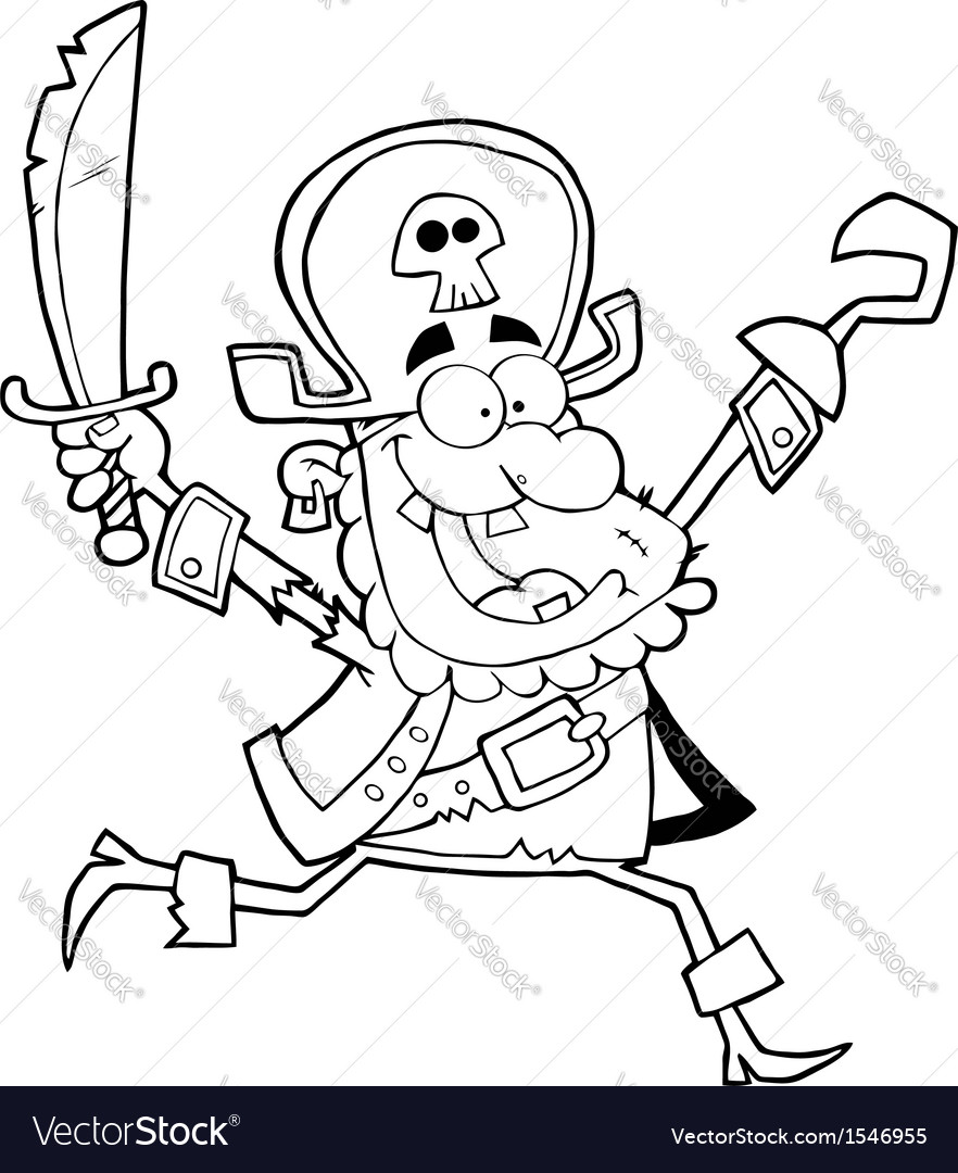 Happy running pirate Vector Image