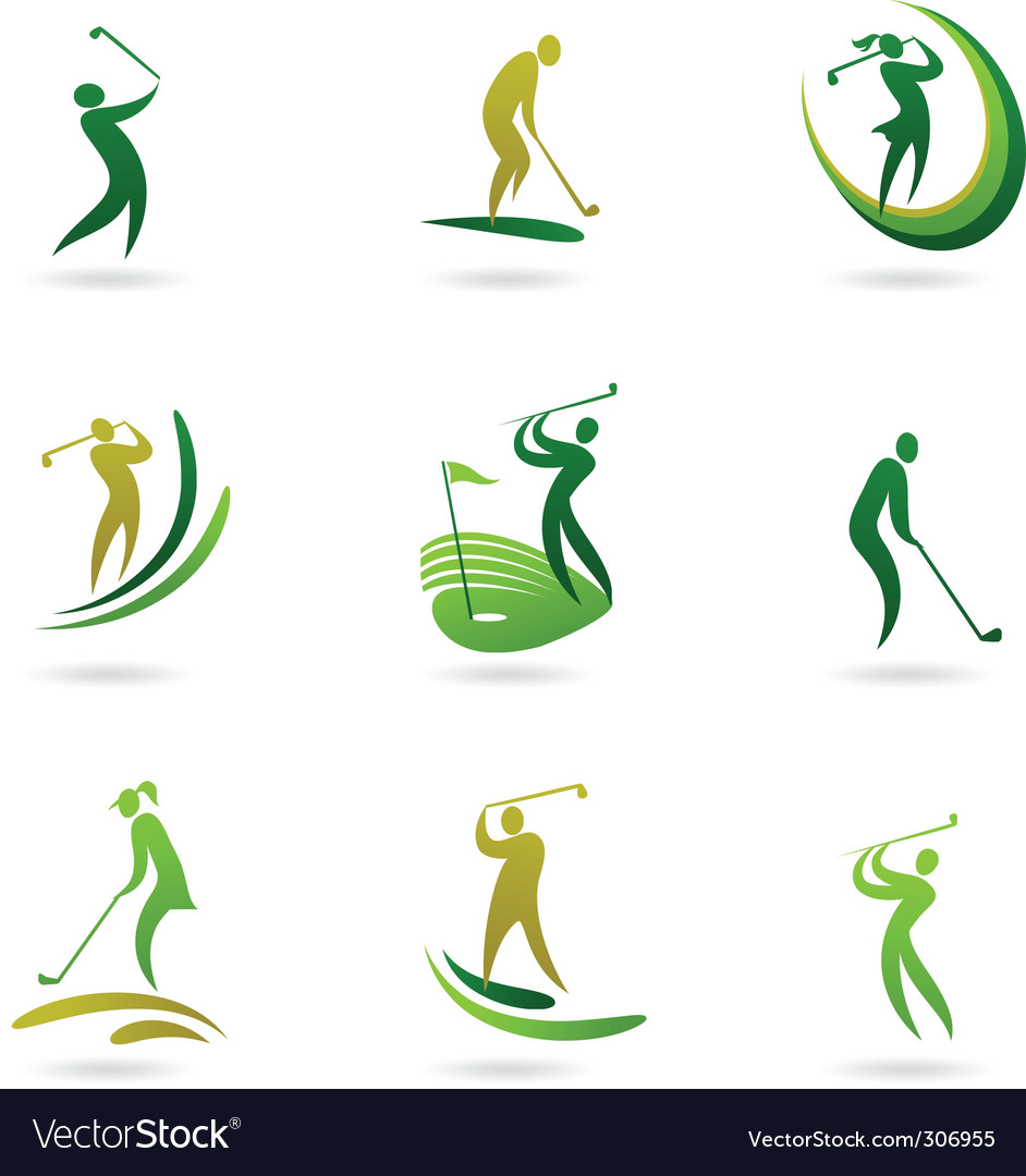 Golfing icons vector image