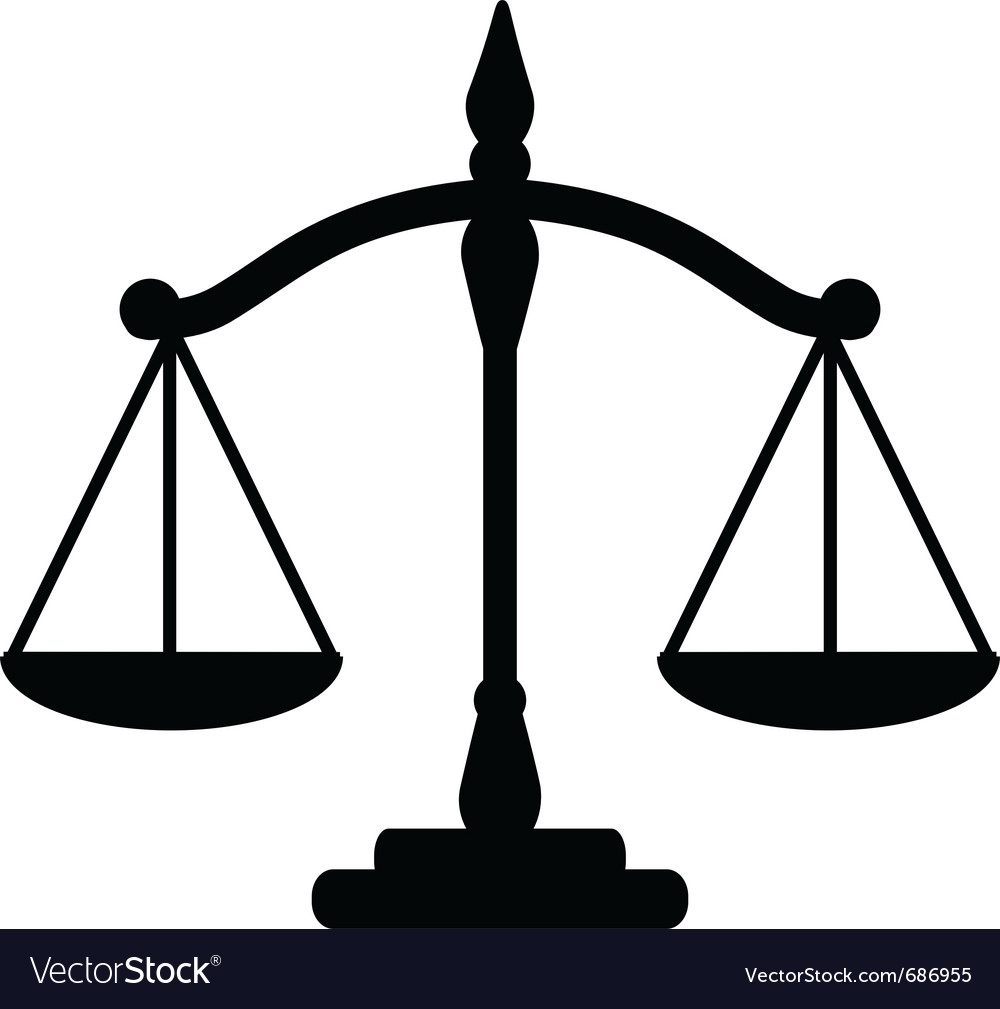 justice scales royalty free vector image vectorstock rh vectorstock com scales of justice vector image scales of justice vector art