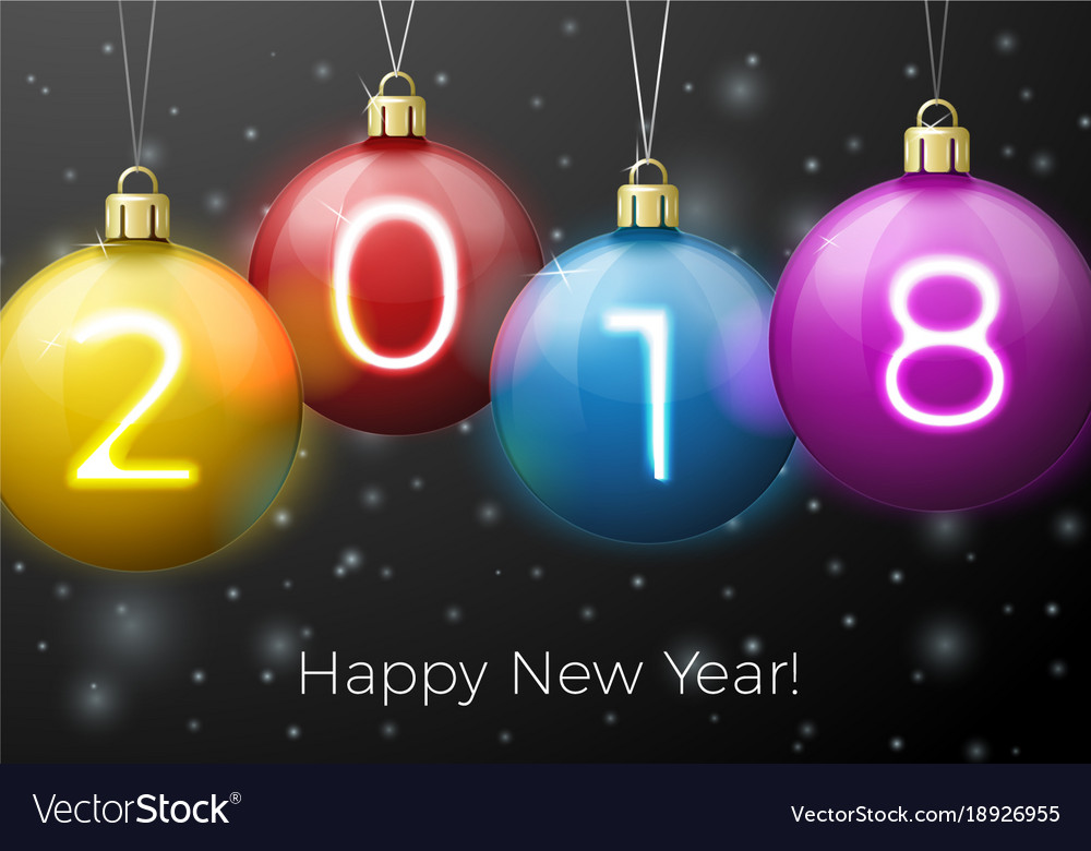 New Year Poster Template Bright Balls  Vector Image