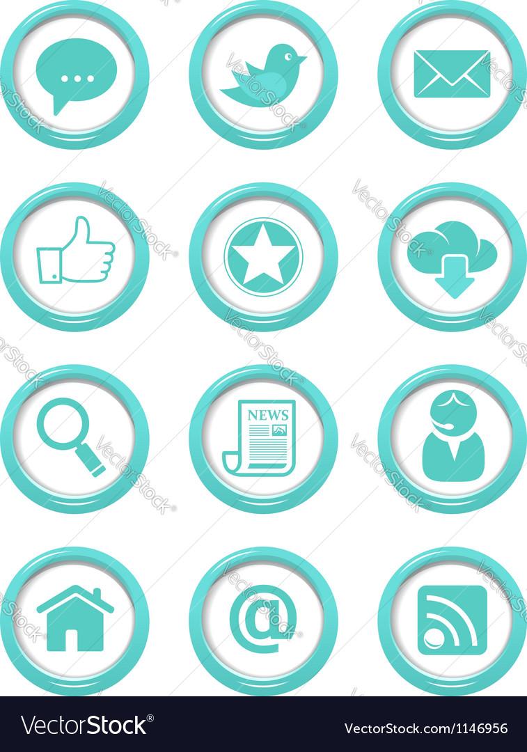 Communication buttons blue set Vector Image