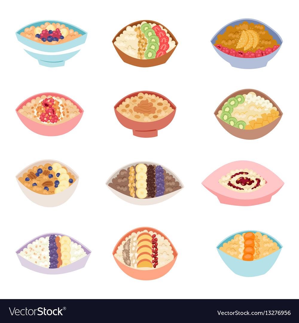 Cartoon healthy oatmeal porridge in bowls with vector image