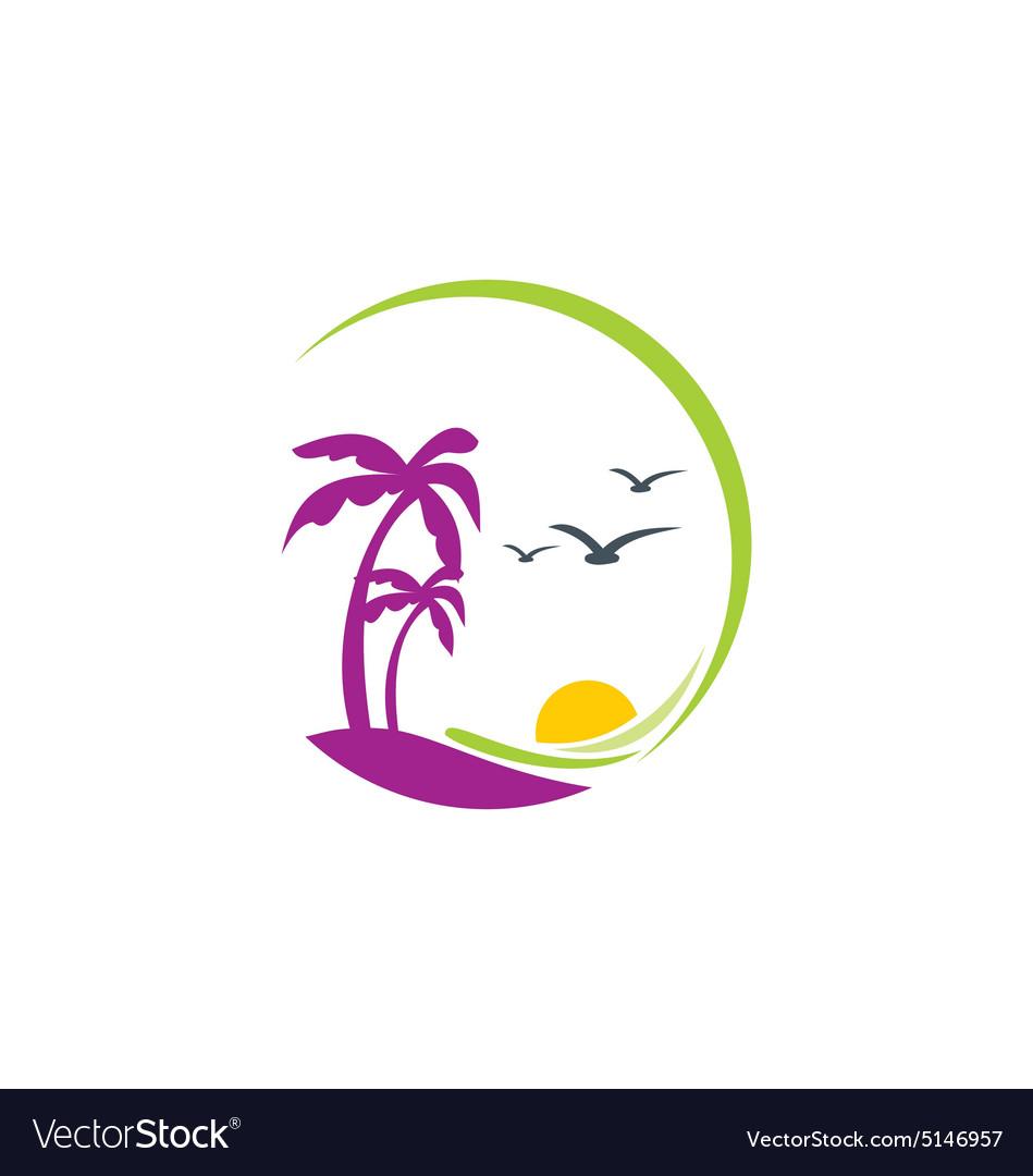 Beach palm tree sunset tropic logo