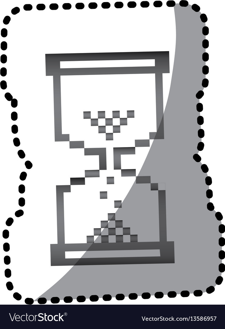 Grayscale pixel hourglass icon vector image