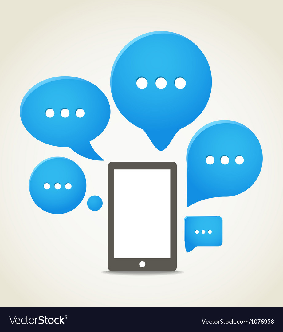 Modern mobile phone with group of speech clouds vector image