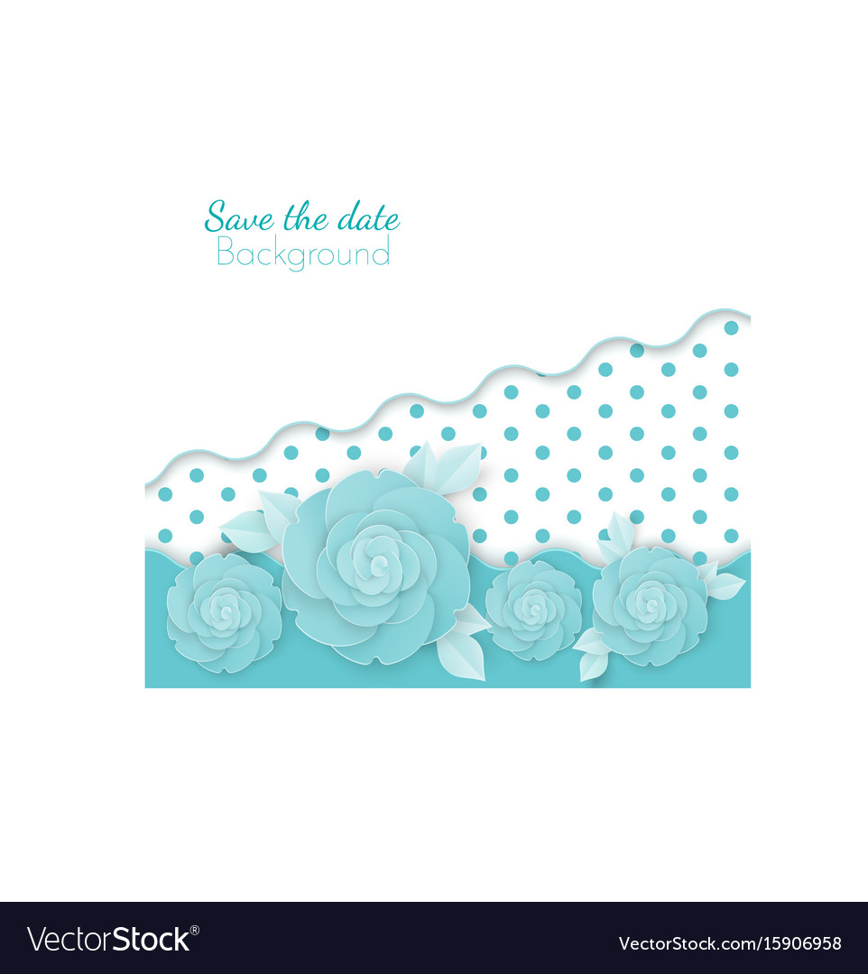Save the date flowers background with dots paper vector image