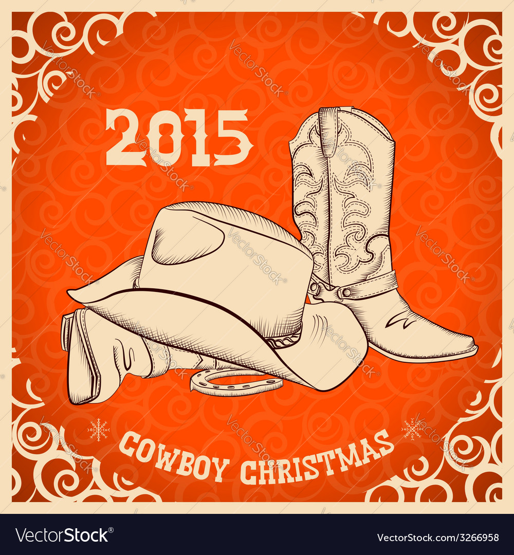 Western New Year with western boots and western vector image