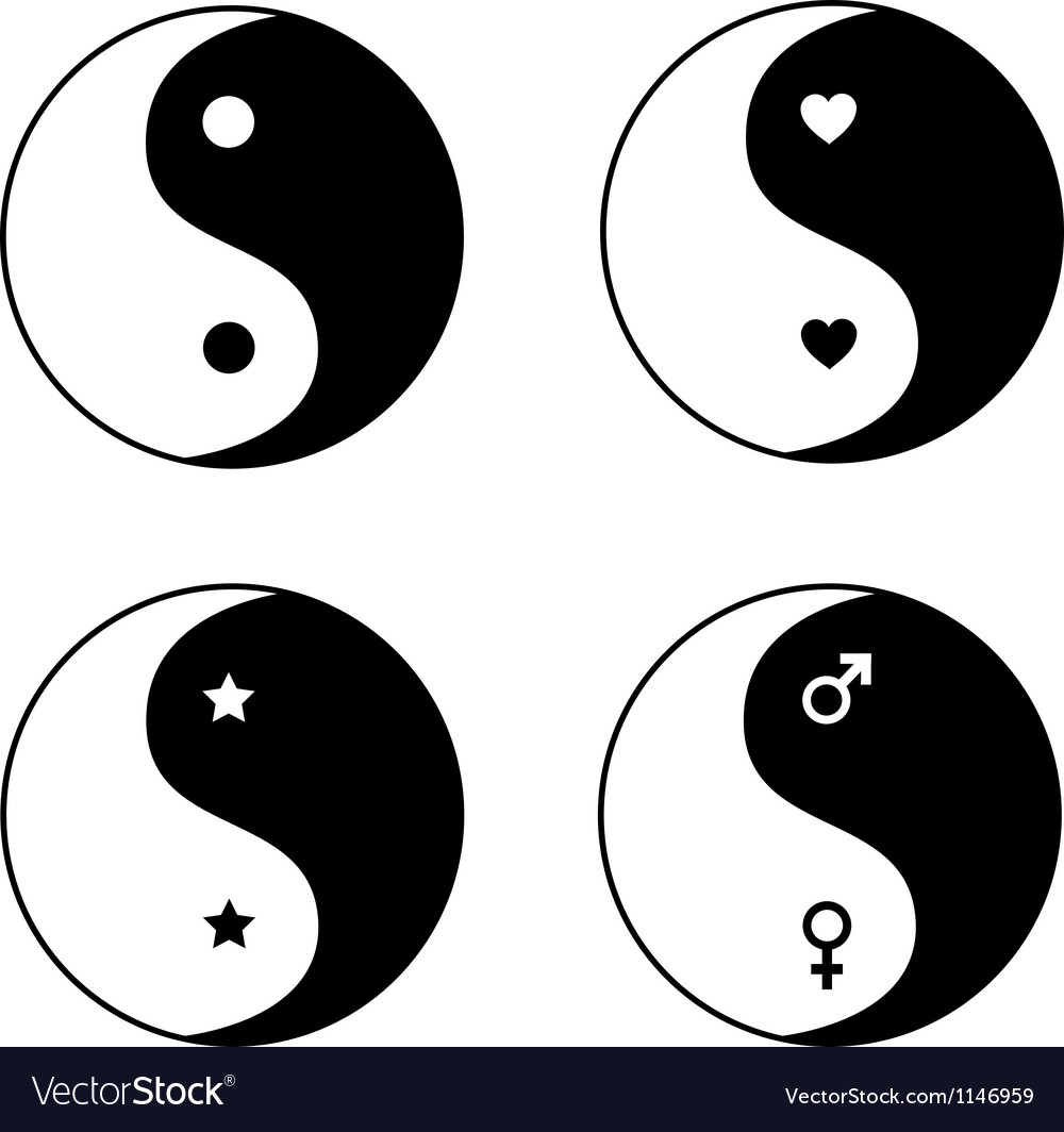 Set of ying yang symbols vector image