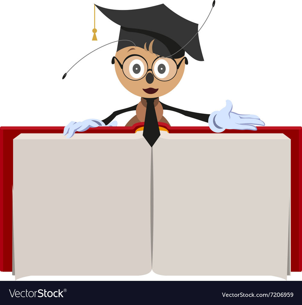 Ant teacher holding open book vector image