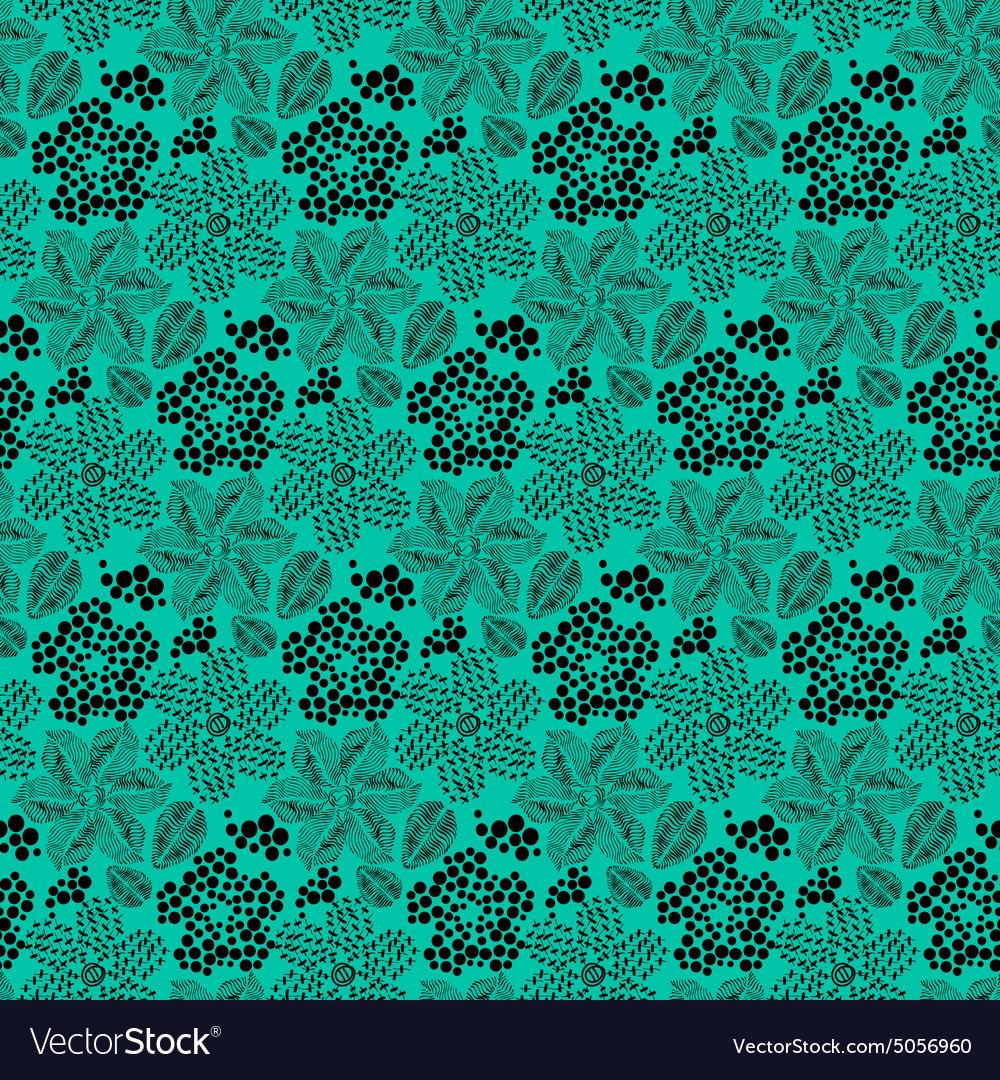 Black floral pattern vector image