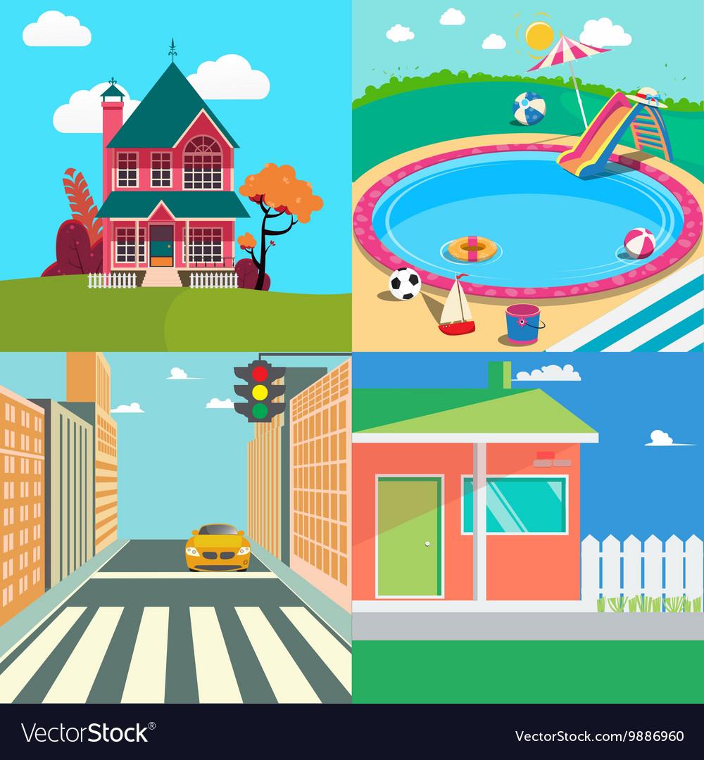 Landscapes Set Countryside Landscape vector image