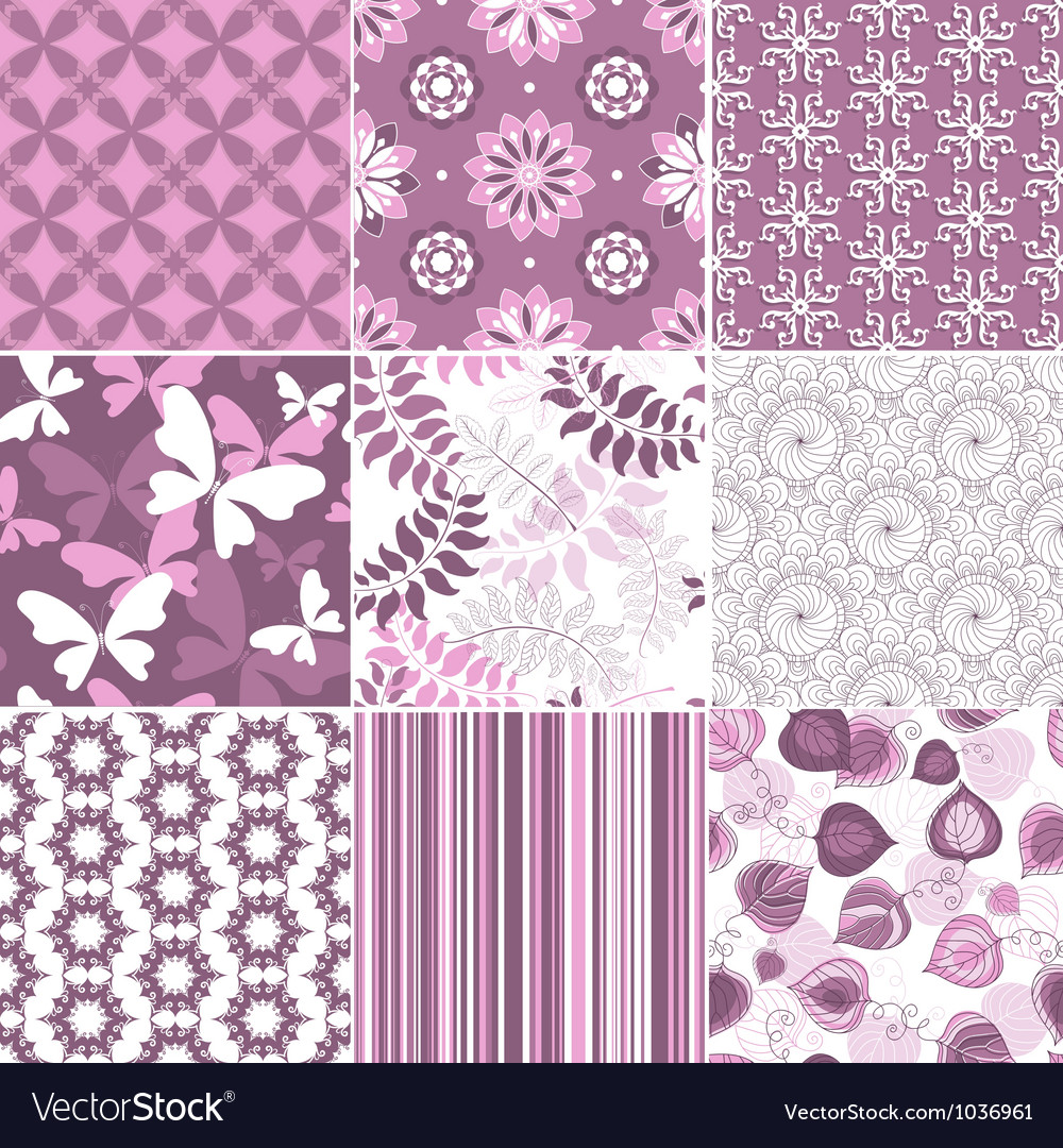 Seamless pastel pink-white patterns vector image