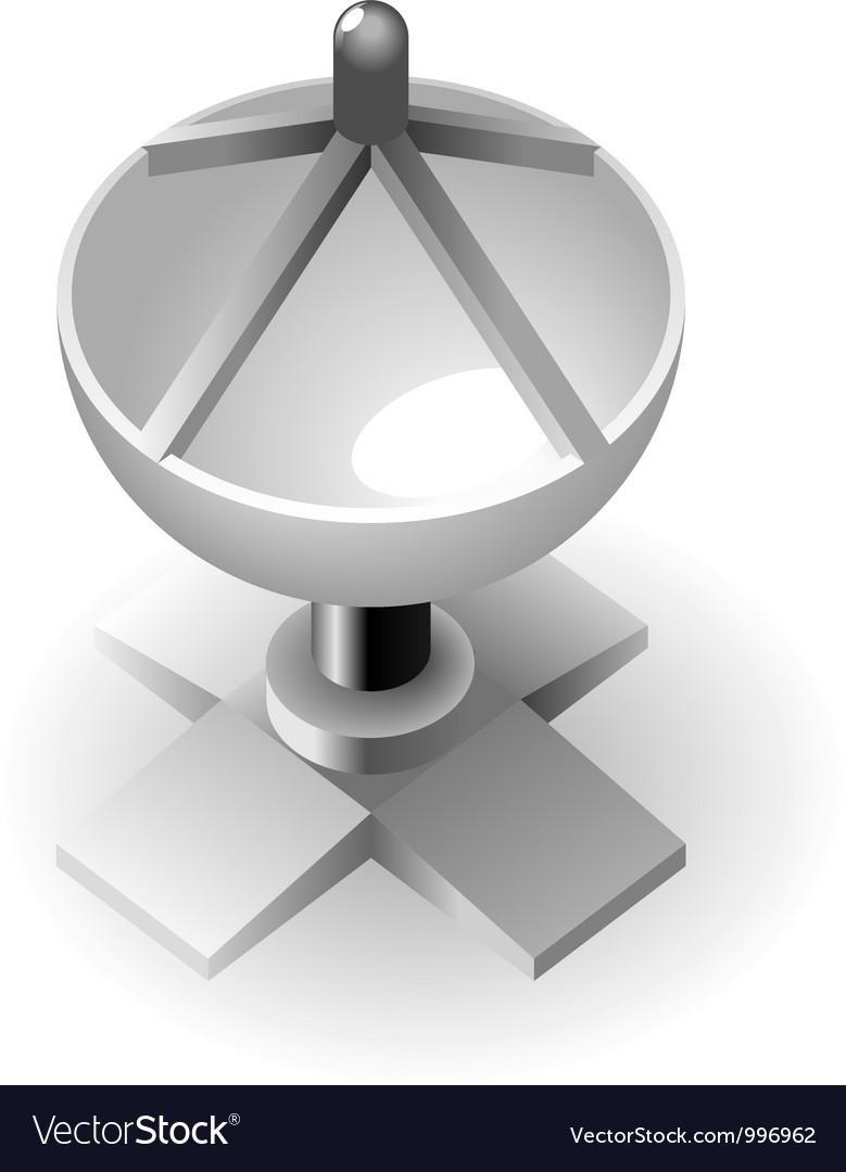 Dish-shaped antenna vector image