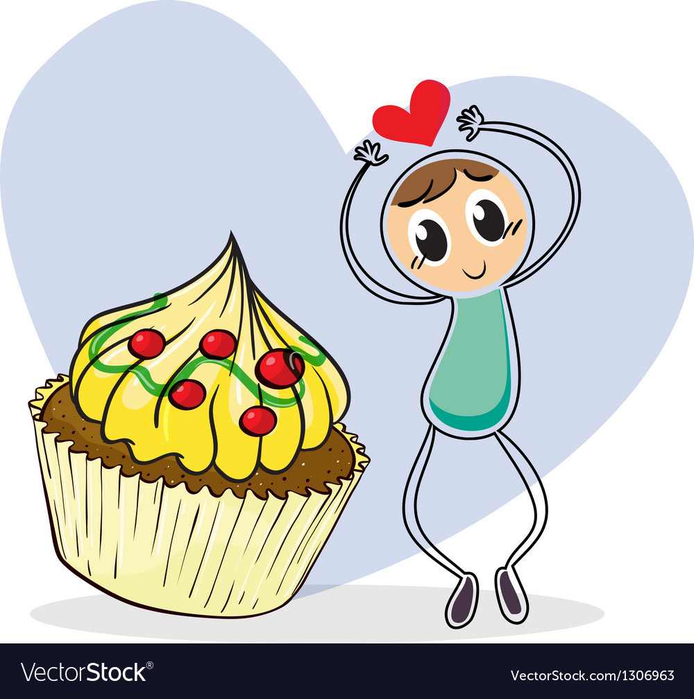 A girl beside a big cupcake vector image