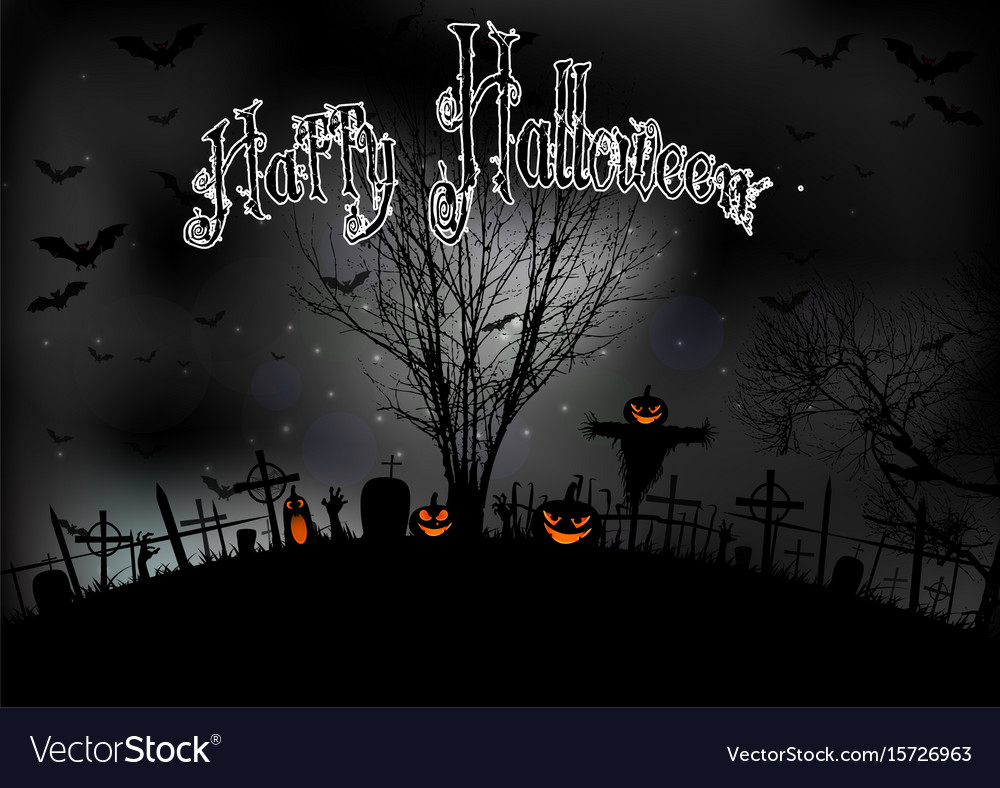Halloween night with tree pumpkins and bats vector image