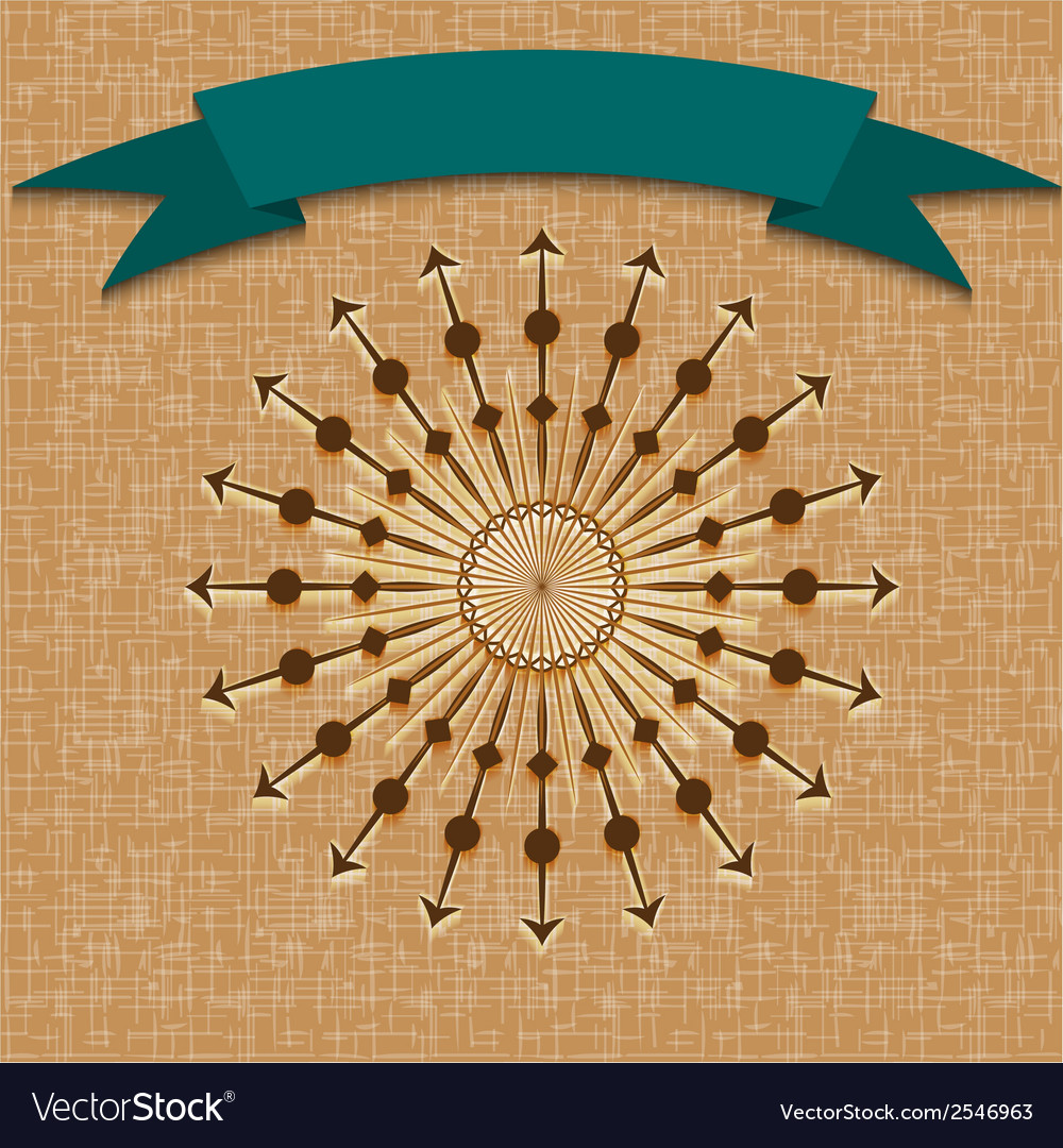 Vintage retro background with sun radial rays and vector image