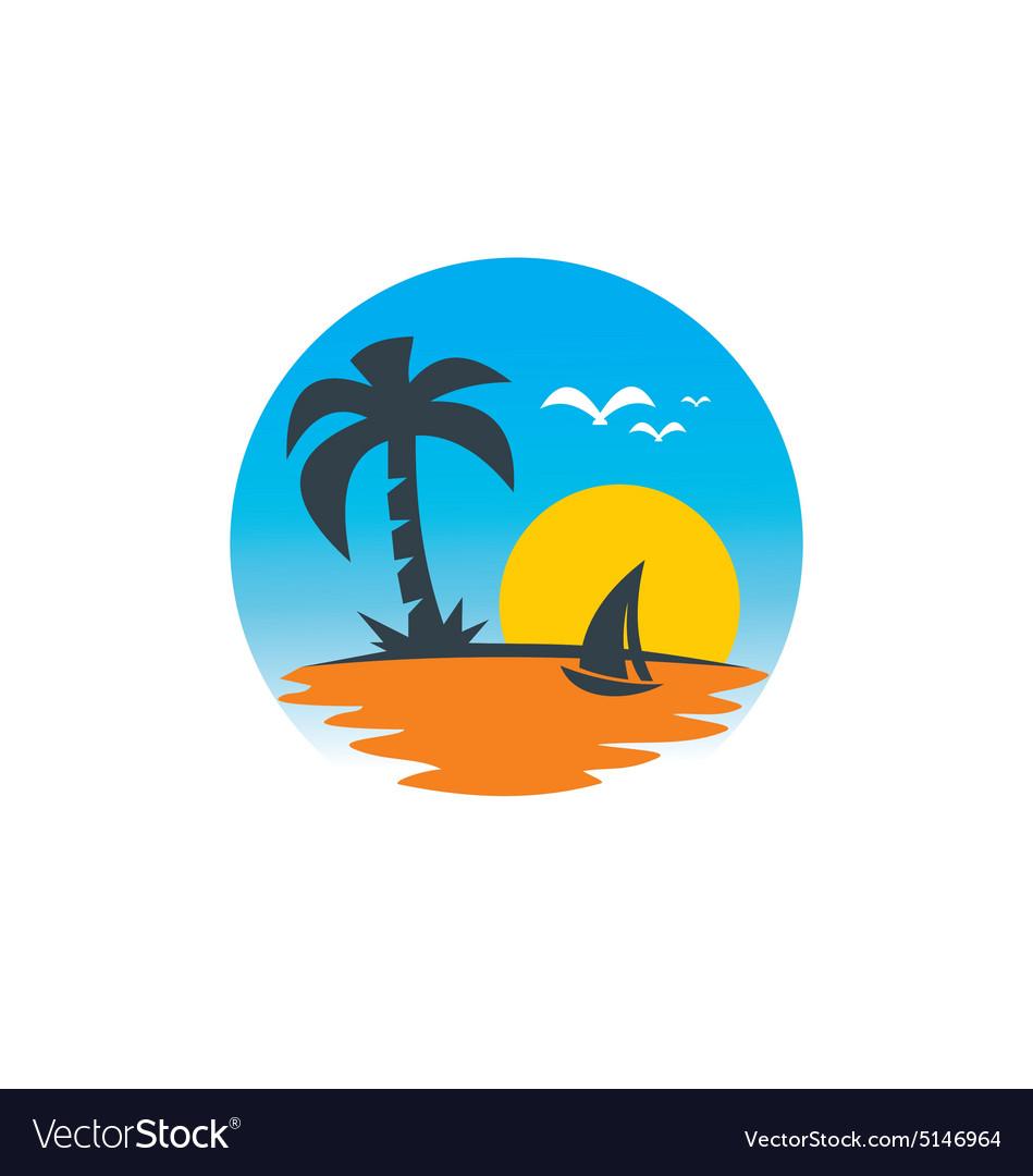 Beach Sailing Boat Sunset Logo Vector Image