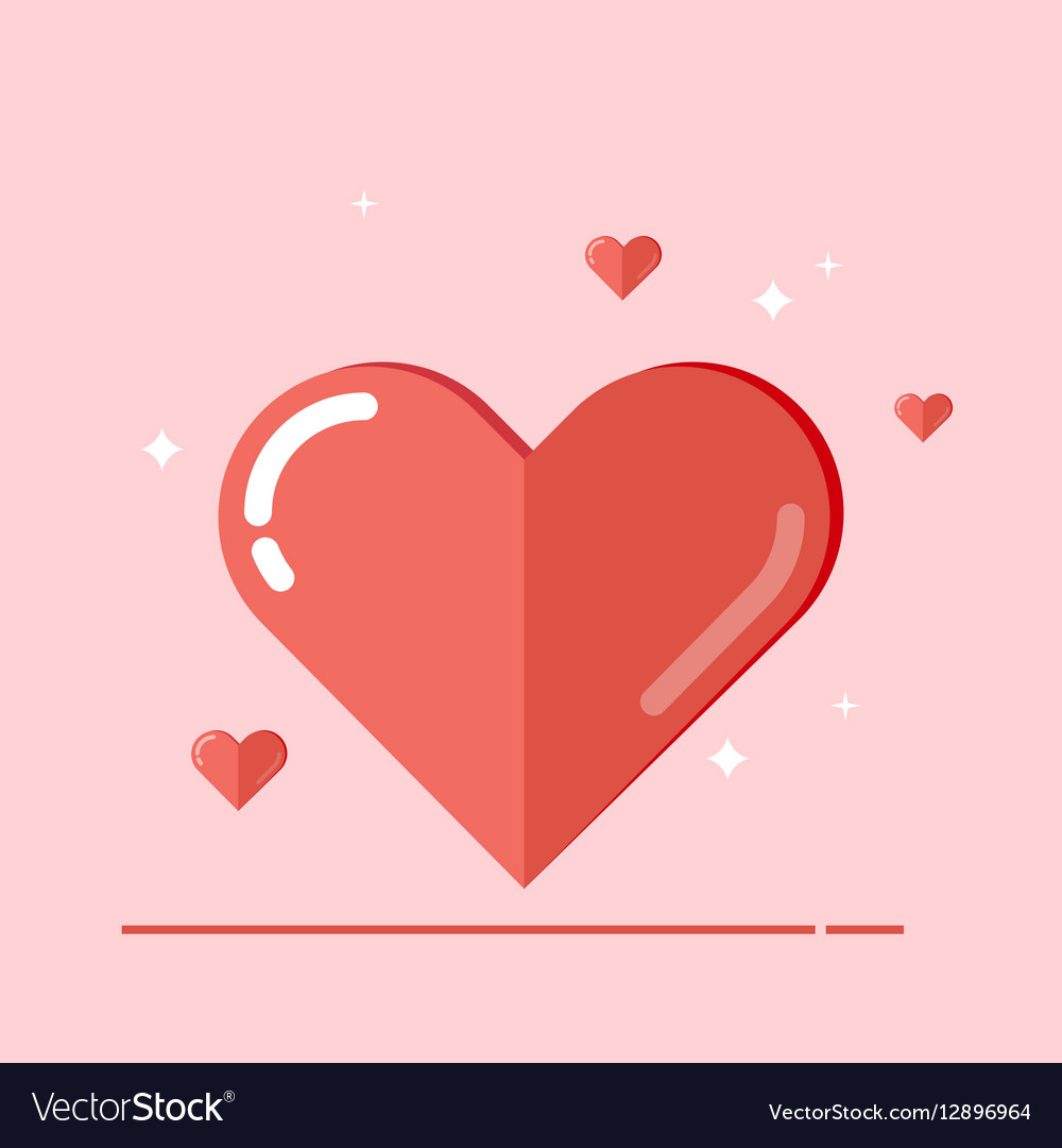 Big heart Flat isolated on pink vector image