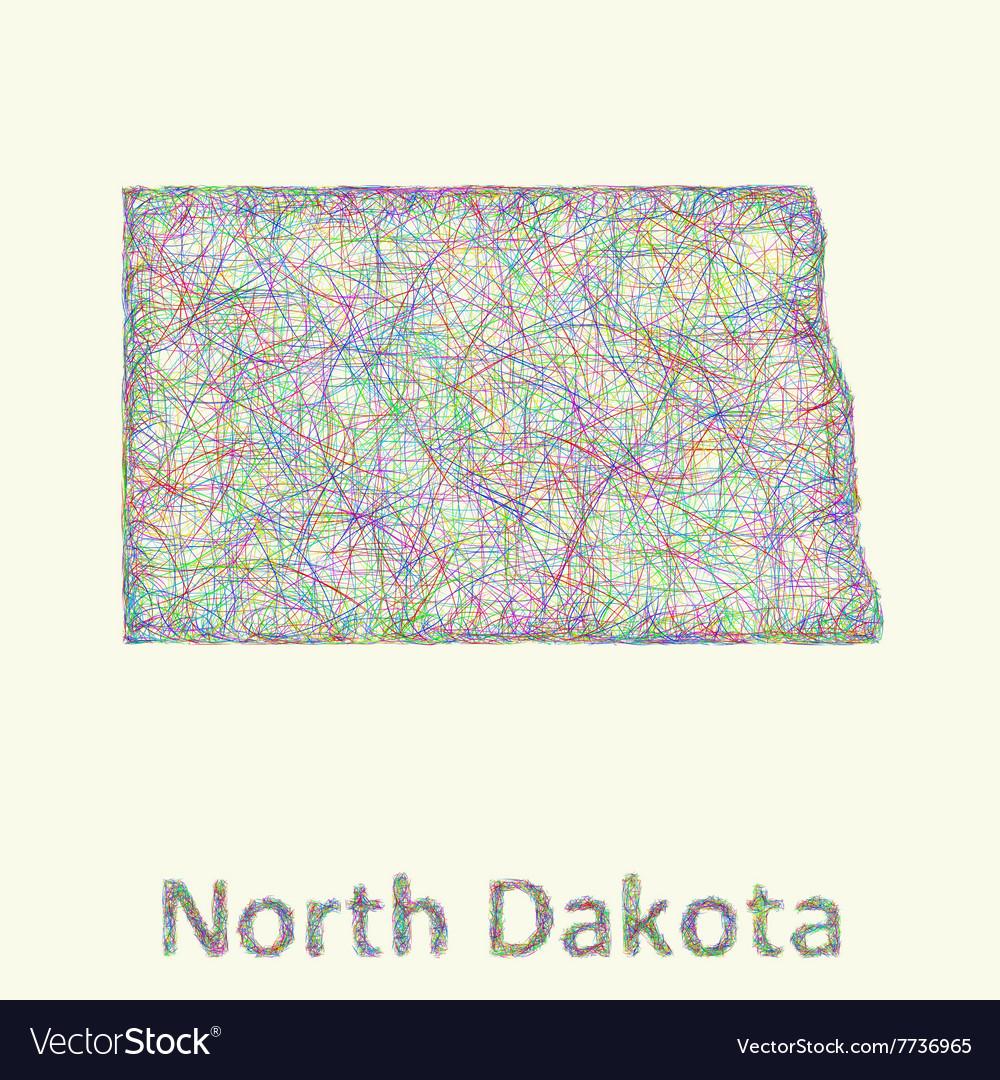 North Dakota line art map vector image