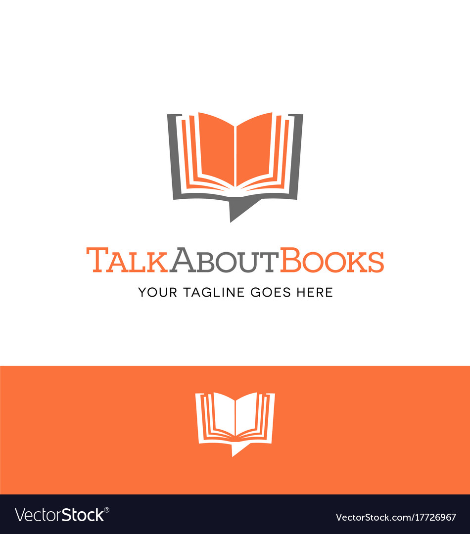 Open book shaped talk bubble logo or icon vector image